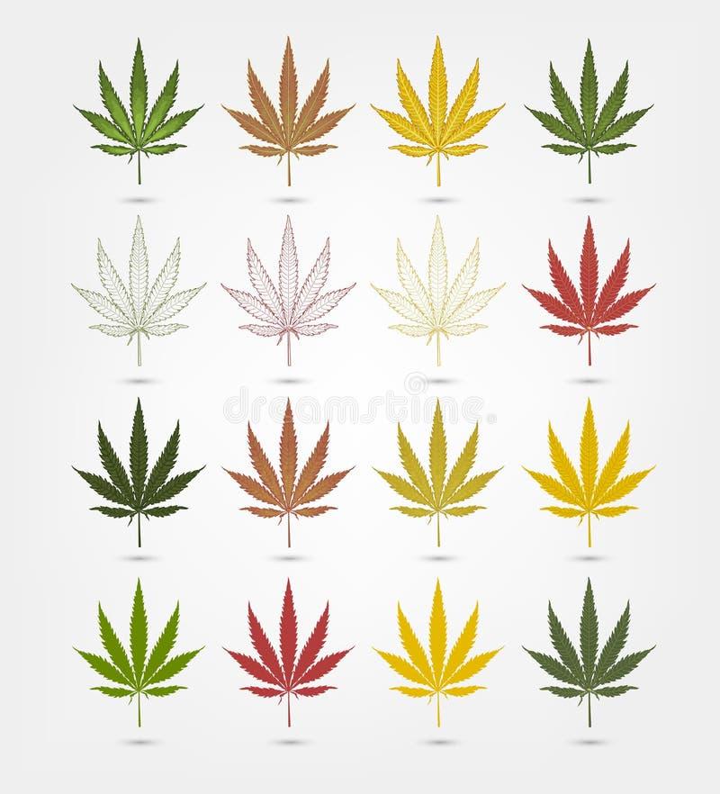 Sistema grande de la hoja realista de la marijuana Planta del cáñamo ilustración del vector