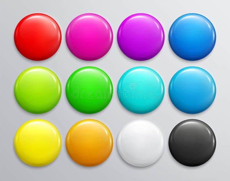 Sistema grande de la insignia o del botón brillante colorida 3d rinden Perno plástico redondo, emblema, etiqueta voluntaria Vecto ilustración del vector