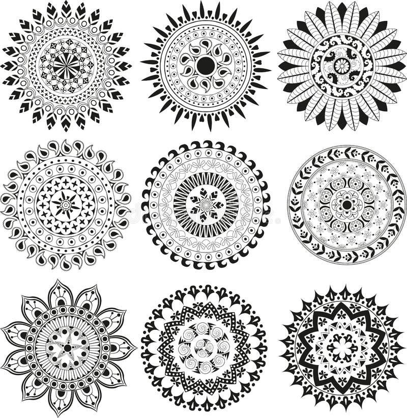 Sistema grande de la mandala ilustración del vector