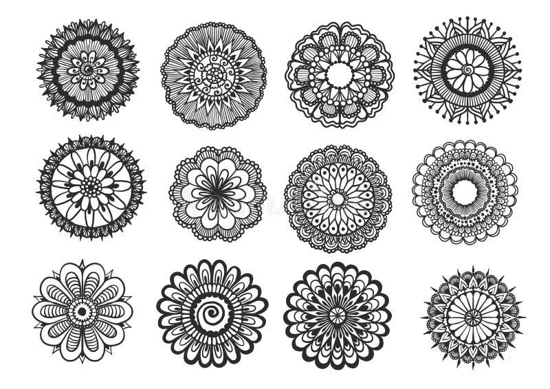 Sistema grande de la mandala floral dibujada mano aislada en el fondo blanco stock de ilustración