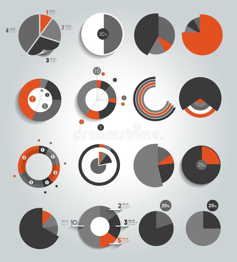 Sistema grande de la ronda, carta del círculo, gráfico Simplemente color editable stock de ilustración