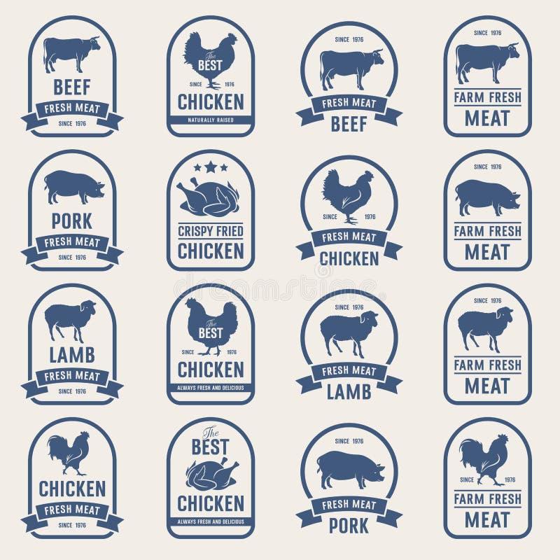 Sistema grande de las etiquetas 001 de la carne stock de ilustración