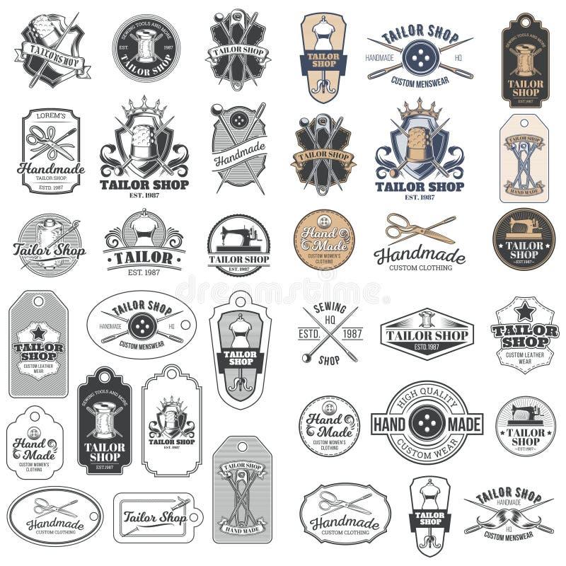 Sistema grande de las insignias del sastre del vintage del vector, etiquetas engomadas, emblemas, señalización stock de ilustración