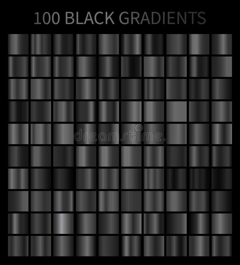 Sistema grande de las pendientes 100 negros ilustración del vector