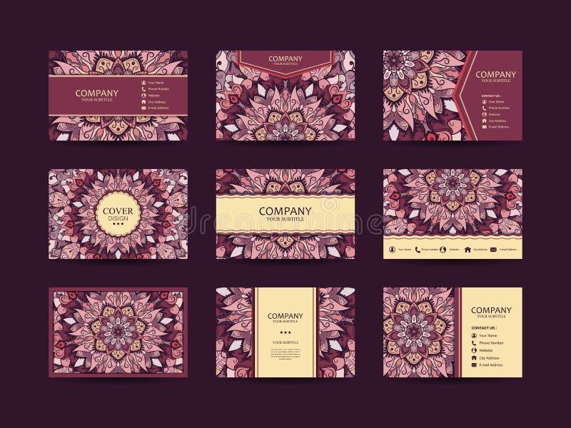 Sistema grande de las tarjetas de visita stock de ilustración