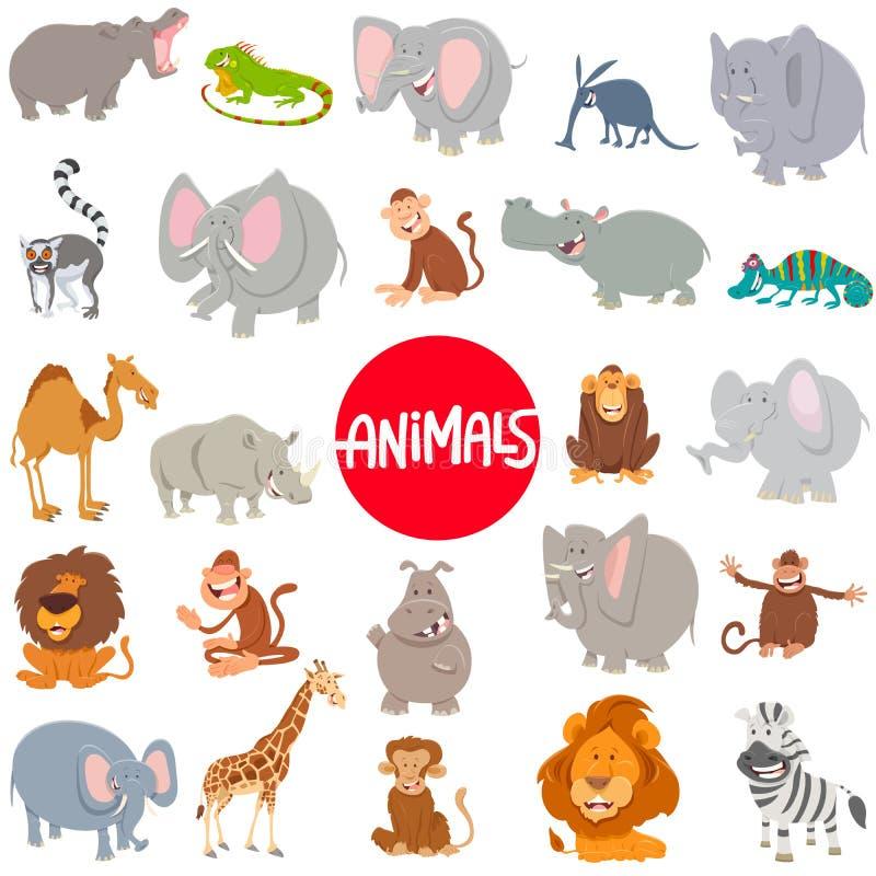 Sistema grande de los caracteres animales de la historieta ilustración del vector