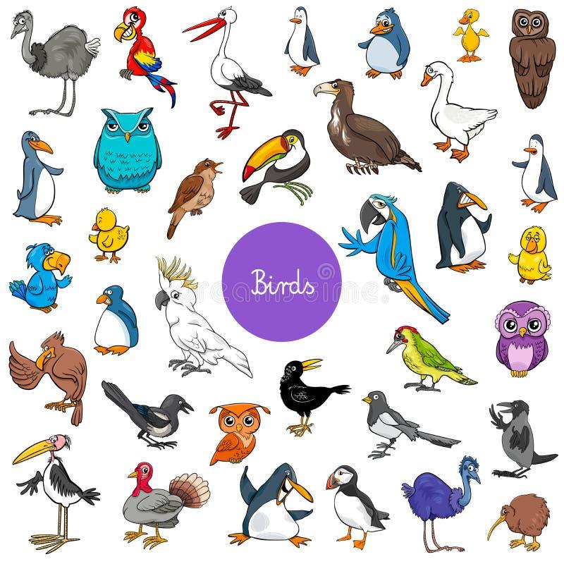Sistema grande de los caracteres animales de los pájaros de la historieta ilustración del vector