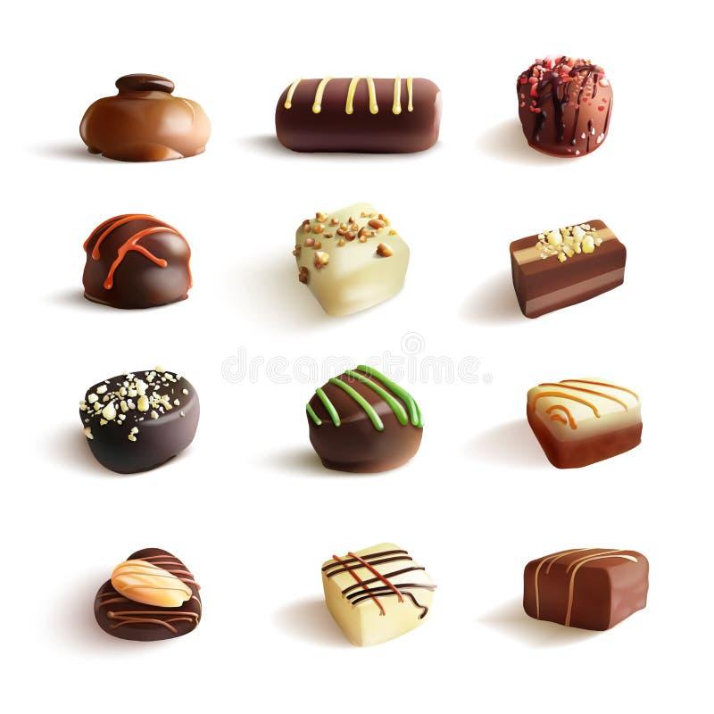Sistema grande de los caramelos de chocolate ejemplo realista del vector En blanco stock de ilustración