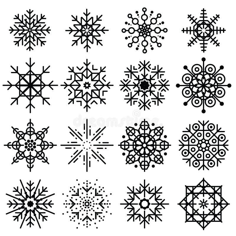 Sistema grande de los copos de nieve negros de diversas variaciones en el backgr blanco ilustración del vector
