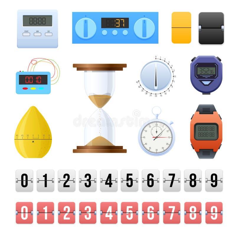 Sistema grande de los diversos relojes digitales, mecánicos, contador de tiempo, contadores de cuenta descendiente stock de ilustración
