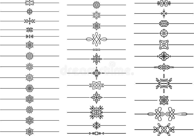 Sistema grande de los divisores caligráficos del texto, separadores en estilo del monoline, elementos geométricos para su diseño ilustración del vector