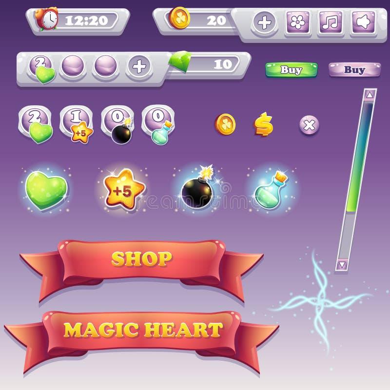 Sistema grande de los elementos del interfaz para los juegos de ordenador y el diseño web ilustración del vector