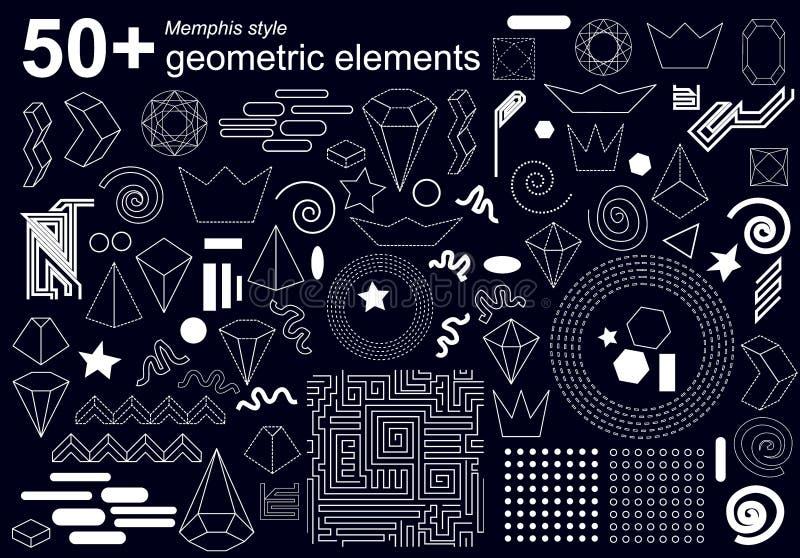 Sistema grande de los elementos geométricos para el diseño del estilo de Memphis libre illustration