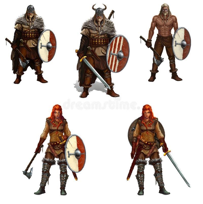 Sistema grande de los guerreros de vikingo con los escudos y espadas y ejemplo realista aislado hachas libre illustration
