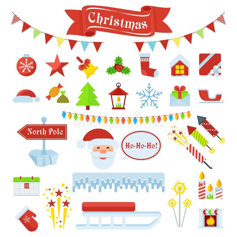 Sistema grande de los iconos 2 de la Navidad libre illustration