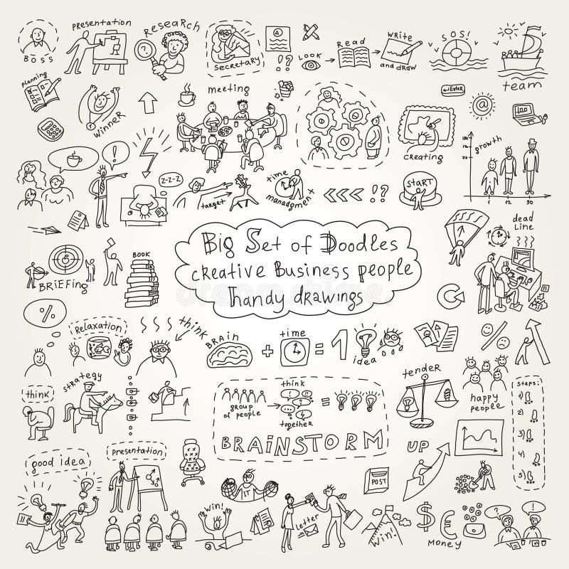 Sistema grande de los iconos de los garabatos de hombres de negocios creativos stock de ilustración