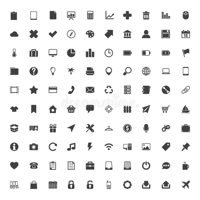 Sistema grande de los iconos del web ilustración del vector