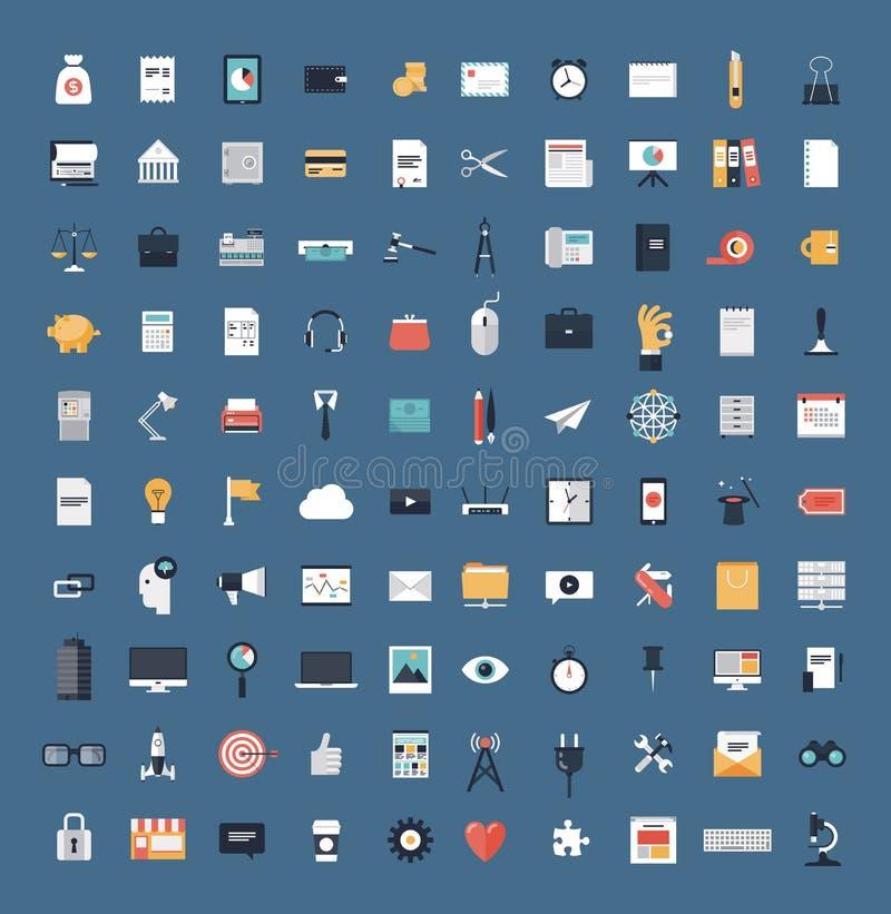 Sistema grande de los iconos planos del negocio y de las finanzas ilustración del vector
