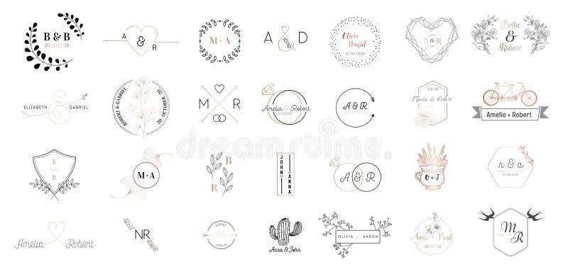 Sistema grande de los logotipos colección, plantillas minimalistic y florales modernas dibujadas mano del monograma de la boda pa stock de ilustración