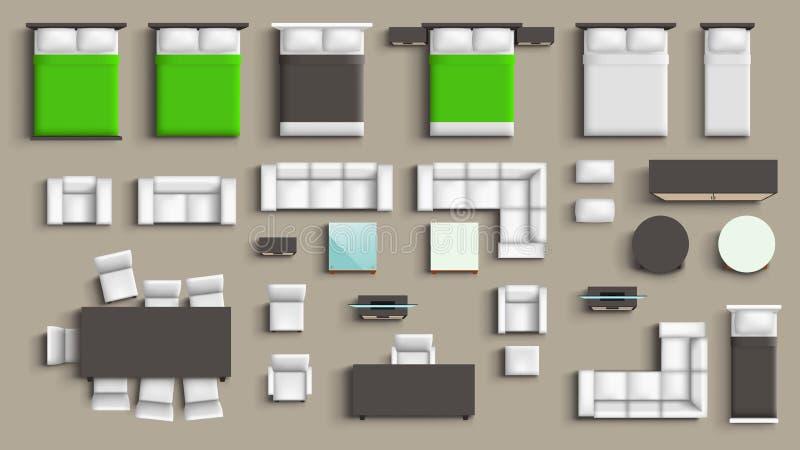 Sistema grande de los muebles ilustración del vector