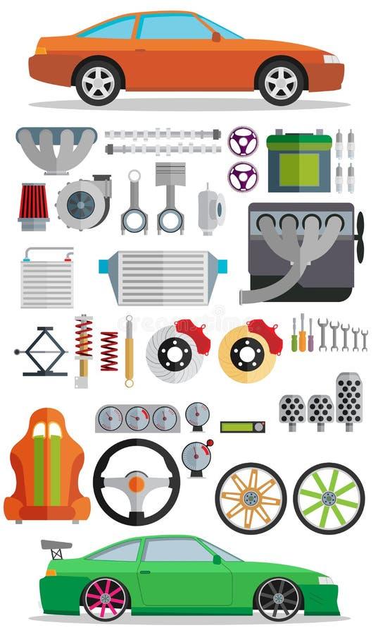Sistema grande de los recambios para los coches Adaptación y modernización ilustración del vector