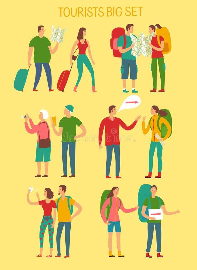 Sistema grande de los turistas de la historieta stock de ilustración