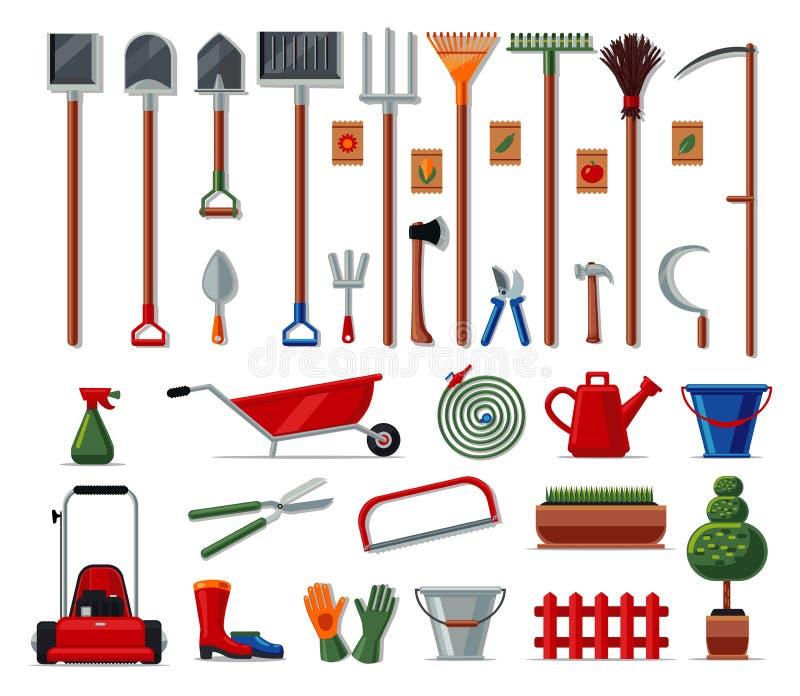 Sistema grande de los utensilios de jardinería El vector coloreó la colección de los iconos aislada en blanco Estilo plano stock de ilustración