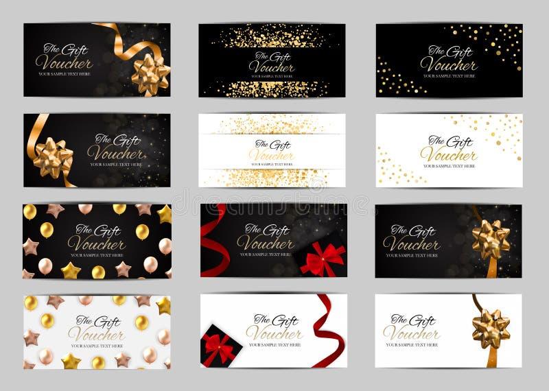 Sistema grande de miembros de lujo, plantilla de la colección del carte cadeaux para su ejemplo del vector del negocio stock de ilustración