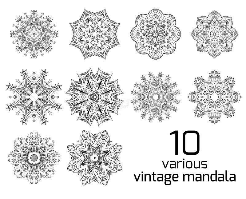 Sistema grande de modelos redondos de diverso vintage stock de ilustración