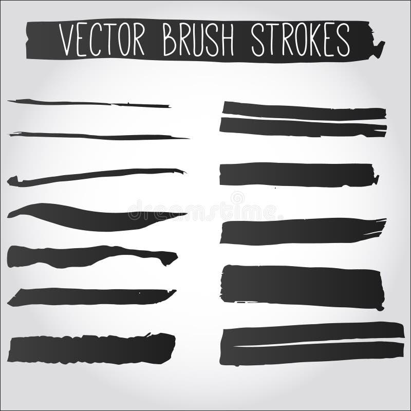Sistema grande de movimientos del cepillo del grunge. Colección de tinta negra del vector libre illustration