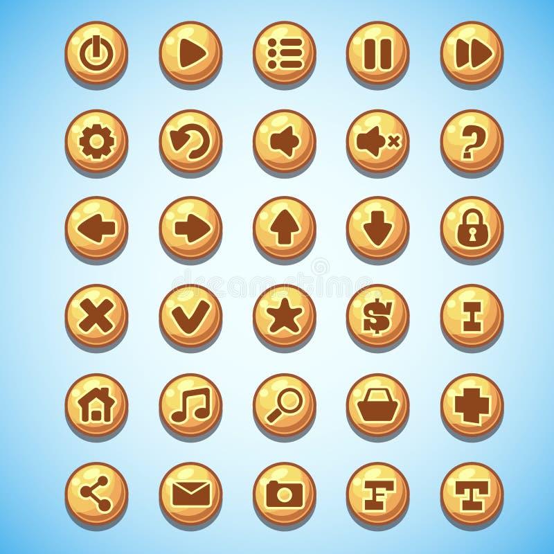 Sistema grande de oeste salvaje de los botones del juego de ordenador redondo de la historieta stock de ilustración