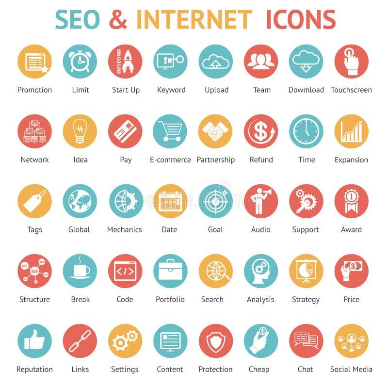 Sistema grande de SEO y de iconos de Internet ilustración del vector