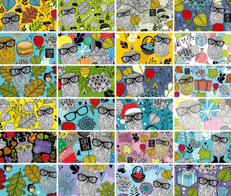 Sistema grande de tarjetas de visita horizontales con los elementos del diseño floral y los búhos lindos libre illustration