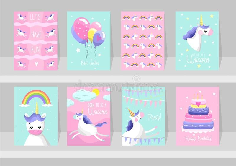 Sistema grande de tarjetas lindas del unicornio Po de motivación e inspirado ilustración del vector