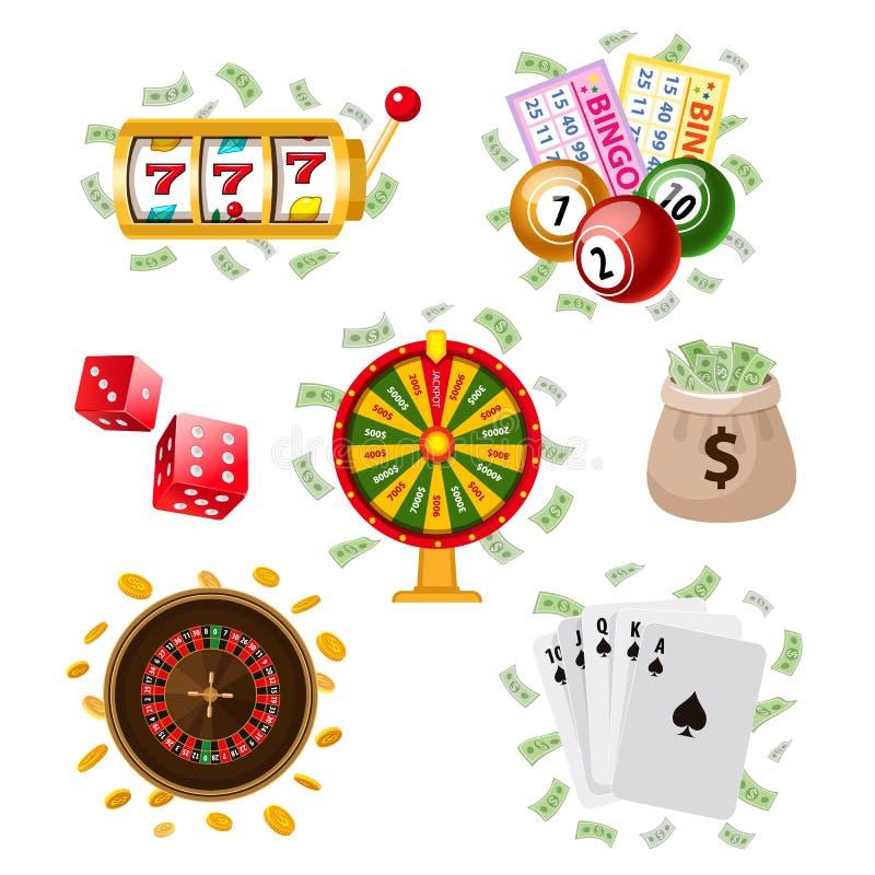 Sistema grande del casino plano del estilo, símbolos de juego libre illustration