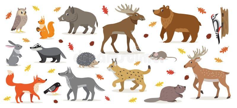 Sistema grande del ejemplo aislado animales del vector del arbolado del bosque stock de ilustración