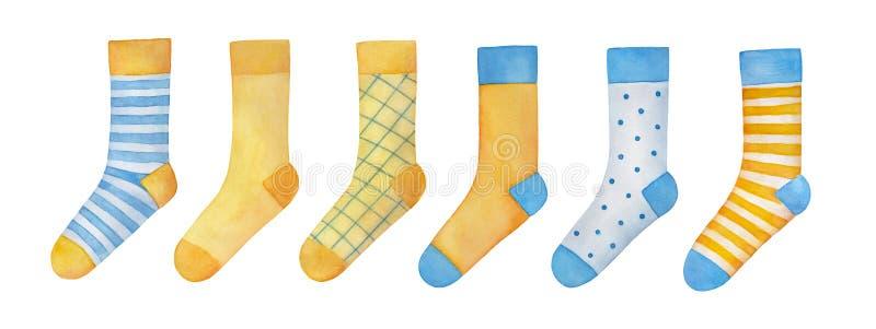 Sistema grande del ejemplo de diversos pares de calcetines coloridos ilustración del vector
