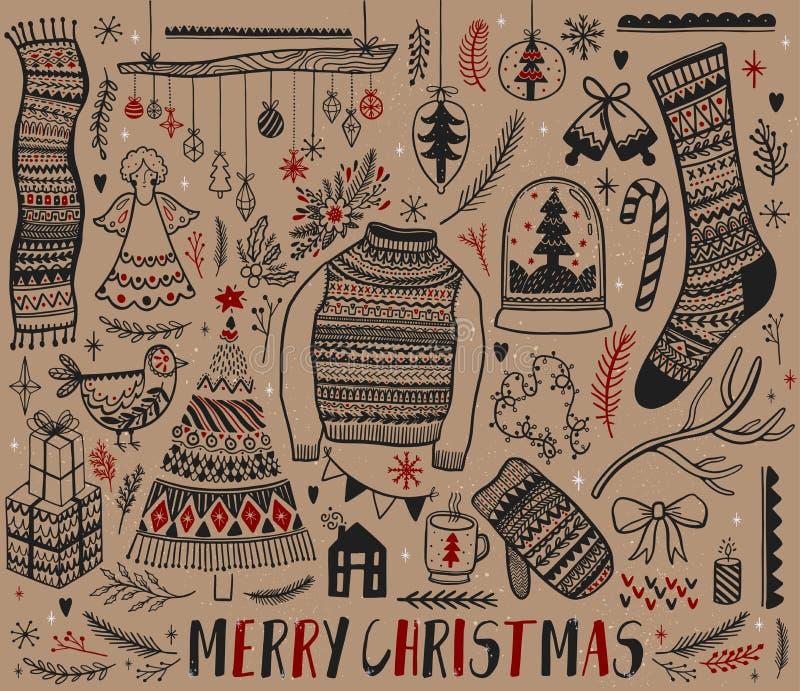 Sistema grande del elemento del diseño de la Navidad en estilo del garabato Año Nuevo de la colección del drenaje de la mano Gráf ilustración del vector