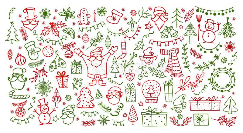 Sistema grande del elemento del diseño de la Navidad en estilo del garabato Ejemplo del vector de las vacaciones de invierno ilustración del vector