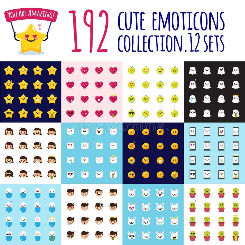 Sistema grande del emoji del vector Emoticons divertidos de la historieta Etiquetas engomadas lindas ilustración del vector
