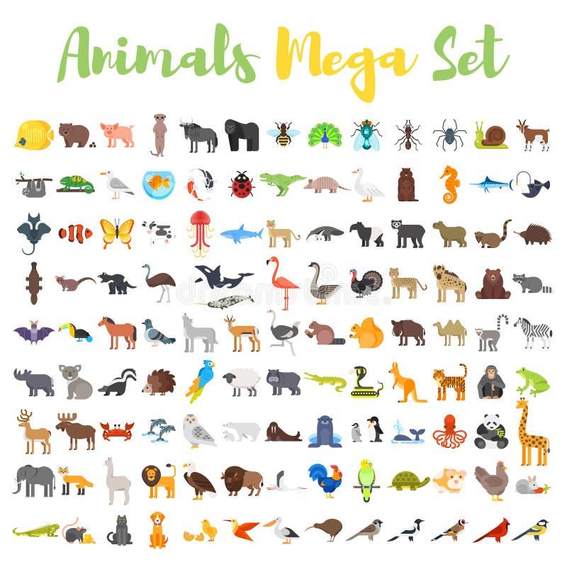 Sistema grande del estilo plano del vector de animales stock de ilustración