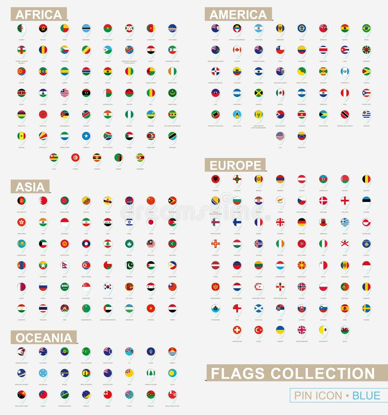 Sistema grande del icono azul del perno con las banderas de África, de Asia, de Oceanía, de América y de Europa clasificadas alfa stock de ilustración