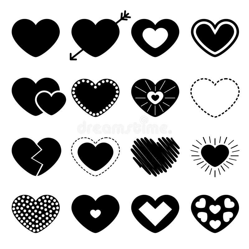 Sistema grande del icono del corazón negro Diversa forma Flecha, l?nea de la rociada L?nea de papel y del garabato efecto S?mbolo libre illustration