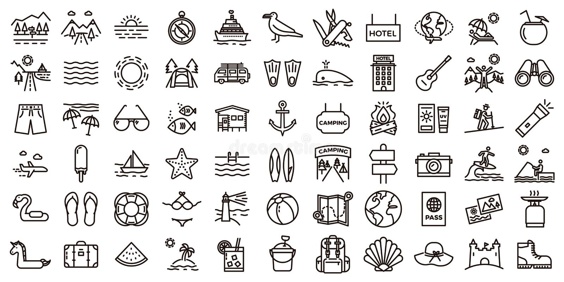 Sistema grande del icono de las vacaciones de verano Línea fina ejemplos del vector libre illustration