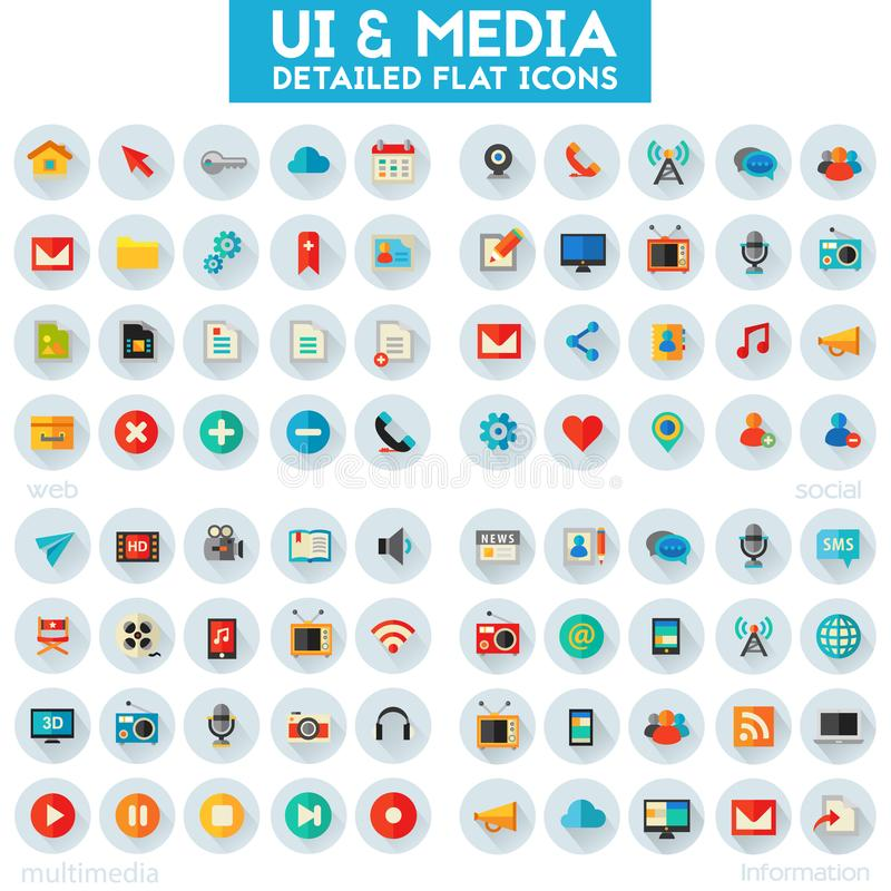 Sistema grande del icono de Ui y de las multimedias libre illustration