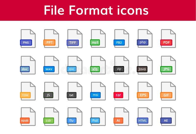 Sistema grande del icono del formato de archivo ilustración del vector
