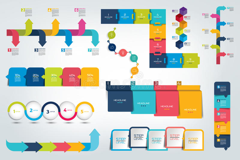 Sistema grande del informe de la cronología de Infographic, plantilla, carta, esquema ilustración del vector