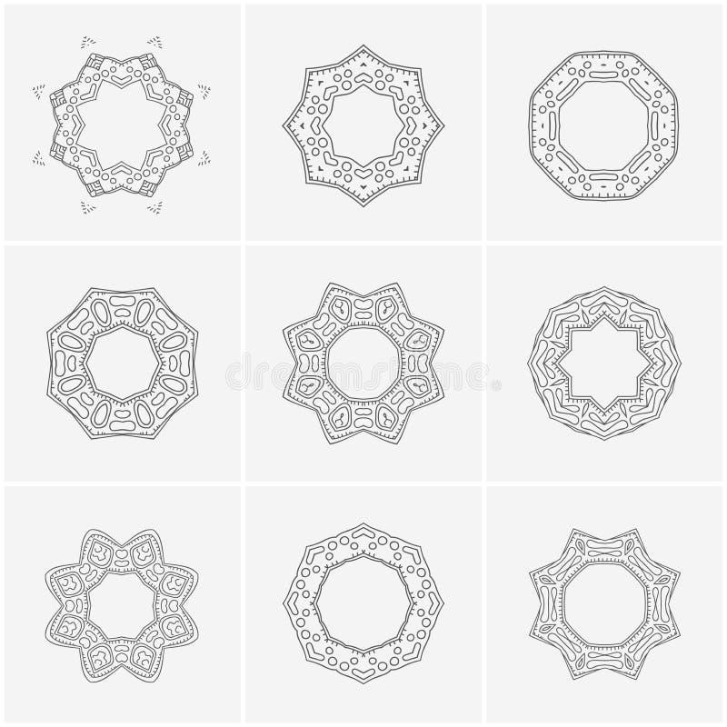 Sistema grande del ornamento delicado étnico hermoso mandala Logotipo del vintage ilustración del vector