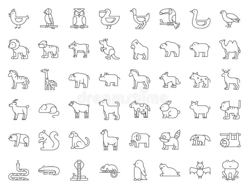 Sistema grande del safari, del ártico, del bosque, del animal del parque zoológico y del pájaro tal como t libre illustration