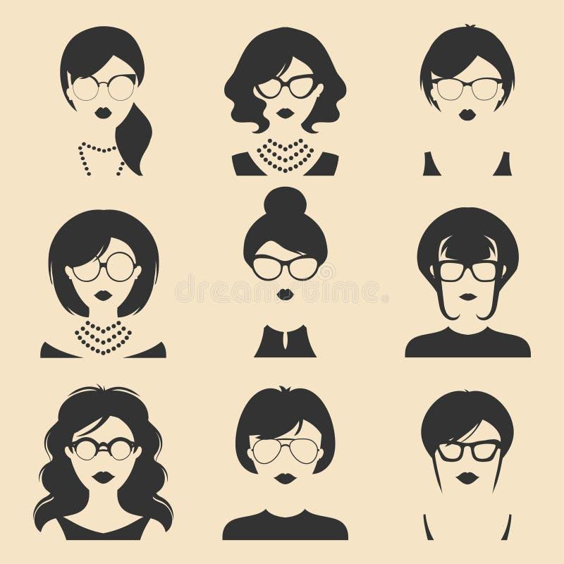 Sistema grande del vector de diversos iconos del app de las mujeres en vidrios en estilo plano Imágenes femeninas de las caras o  stock de ilustración
